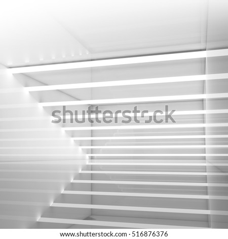 Abstract square empty room interior background with stripes of ceiling lights, contemporary minimal open space design template, 3d illustration
