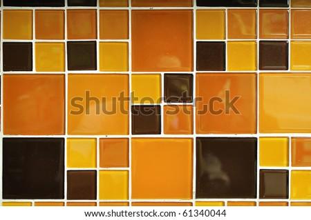 Abstract square pixel mosaic background : Orange style - stock photo