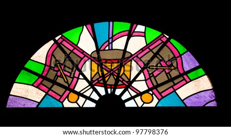 Abstract stained glass window - stock photo