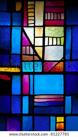 Abstract stained-glass window in Montserrat Monastery (founded in 1025) - stock photo