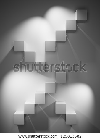 Abstract stairs from the cubes illuminated spotlight - stock photo