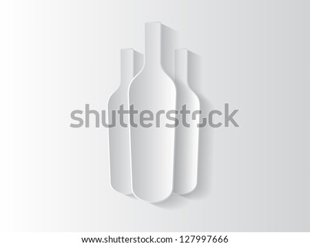 Abstract sticker background with wine bottle and space for text.