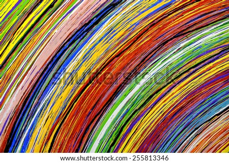 Abstract stripe pattern : paint oil colors on canvas  - stock photo