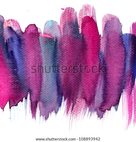 Abstract stripe watercolors : colors wet on dry paper - stock photo