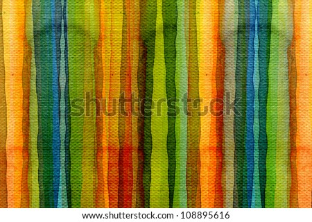 Abstract stripe watercolors ; colors wet on dry paper. - stock photo