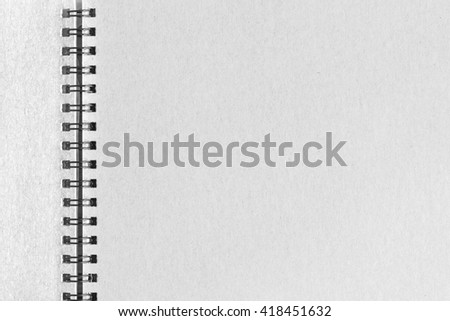 Abstract striped notebook with solid white paper. Blank notebook for background - stock photo