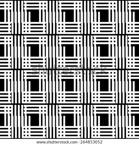 Abstract stripped geometric seamless pattern in black and white. Modern monochrome background texture. Lines, stripes - stock photo