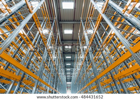 Abstract strong perspective empty warehouse interior or industrial building