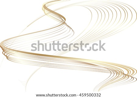 Abstract Structural Curved Pattern. Golden Lines and Bronze Waves. Raster. 3d Illustration - stock photo