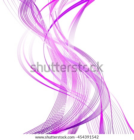 Abstract Structural Curved Pattern. Mauve Lines and Violet Waves. Raster 3d Illustration - stock photo
