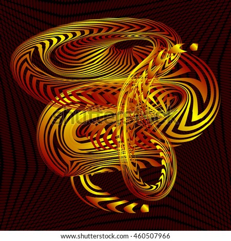 Abstract Structural Curved Pattern. Yellow Lines and Red Waves. Raster. 3d Illustration - stock photo