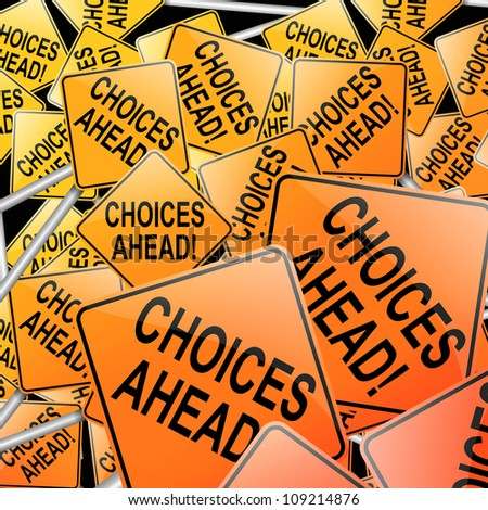 Abstract style illustration depicting many directional roadsigns with a choices concept. - stock photo