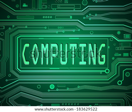 Abstract style illustration depicting printed circuit board components with a computing concept. - stock photo
