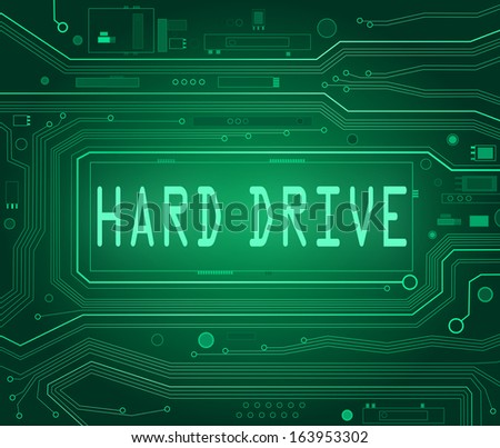 Abstract style illustration depicting printed circuit board components with a hard drive concept.. - stock photo