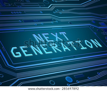 Abstract style illustration depicting printed circuit board components with a next generation concept. - stock photo