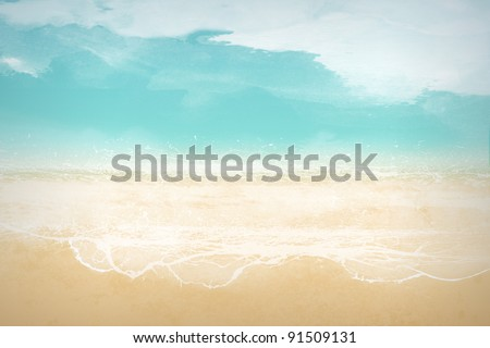 abstract, stylized landscape – beach - stock photo