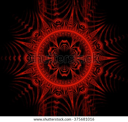 Abstract stylized red flower - computer-generated image. Sacral geometry. Fractal artwork - graphic design element for web design, prints on clothes and t-shirts, banners - stock photo