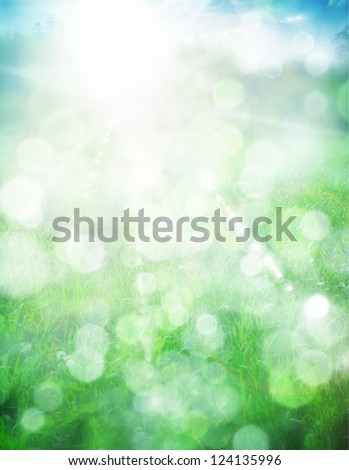 Abstract summer background with sun beams and defocused lights - stock photo