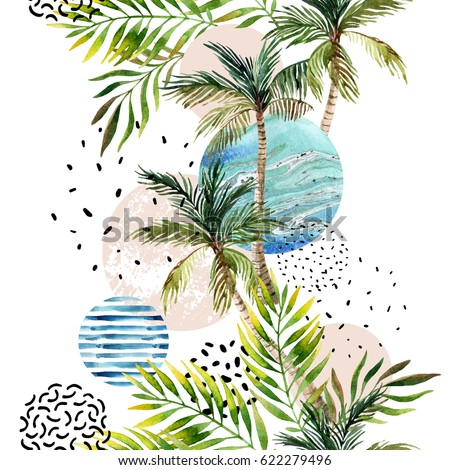 Abstract summer geometric background. Geometric shapes with watercolor palm tree, leaf, marble, grunge texture. Water color background in retro vintage 80s - 90s. Hand painted beach illustration