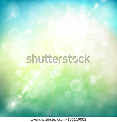Abstract summer illustration with sun beams and defocused lights - raster version - stock photo