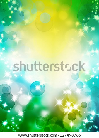 Abstract summer spring background with bokeh and glitter stars - stock photo