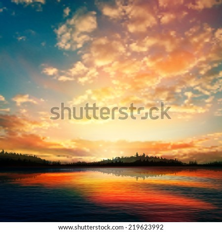 abstract sunset background with forest lake and clouds - stock photo