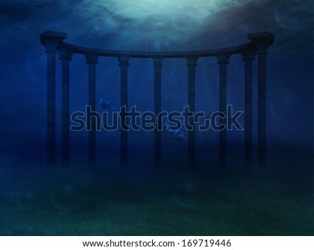 Abstract surreal underwater landscape with ancient columns. - stock photo