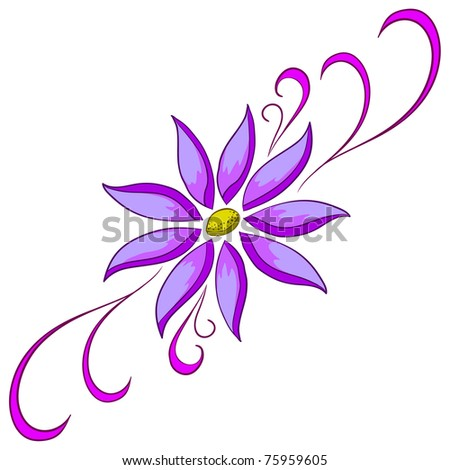 Abstract symbolical lilac flower on a white background - stock photo