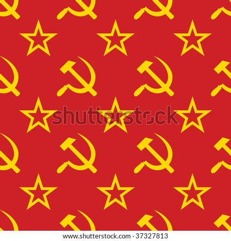 Abstract symbols of USSR background. Yellow - red palette. Seamless. Raster illustration. - stock photo