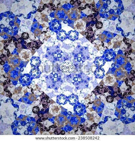 Abstract symmetrical blue hexagon fractal  mosaic  - stock photo