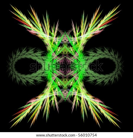 Abstract symmetrical fractal background isolated on a black background - stock photo