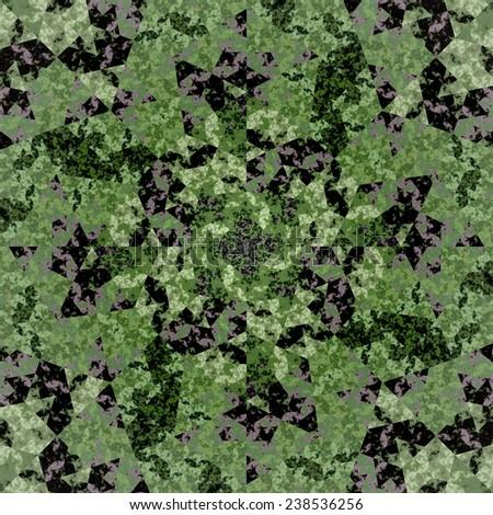 Abstract symmetrical orange hexagon fractal  mosaic  - stock photo