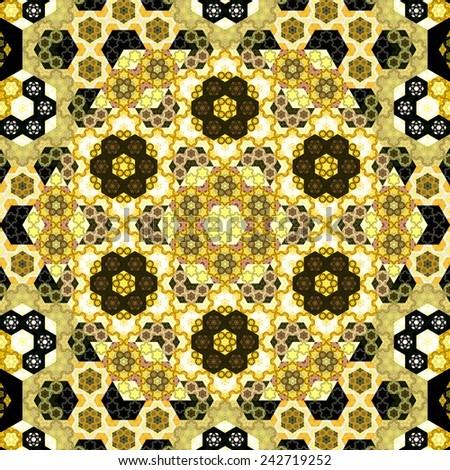 Abstract symmetrical yellow hexagon fractal  mosaic  - stock photo
