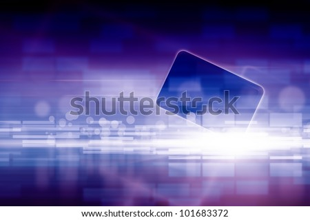 Abstract tablet PC, smartphone on dark blue background with bright lights.