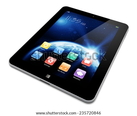 Abstract tablet PC with space dawn wallpaper and colorful apps on a screen. The Earth texture of this image furnished by NASA. (http://visibleearth.nasa.gov/view.php?id=57735) - stock photo