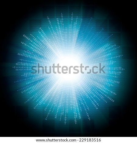 Abstract tech binary blue bright background  - stock photo