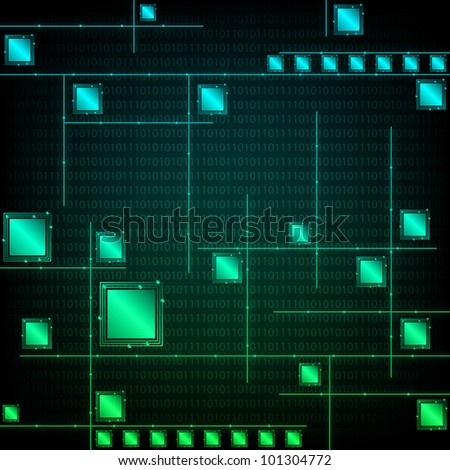 Abstract Tech Green Background. Eps Version Also Available In Gallery. - stock photo