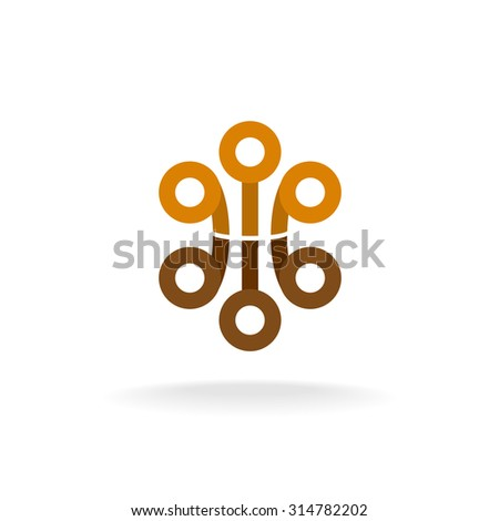 Abstract tech logo with circle elements. Sphere heads on a tips. - stock photo