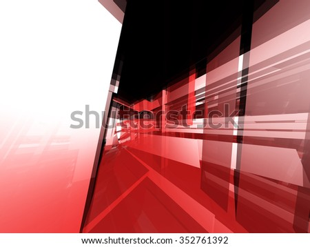 Abstract technical translucent and reflective red objects  - stock photo