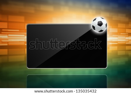 Abstract techno background - soccer ball, tablet computer