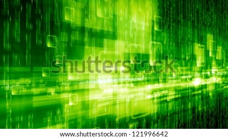 Abstract technological background - bright green squares, green characters, information in network