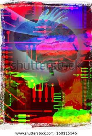 Abstract technological background with hand and brain - stock photo