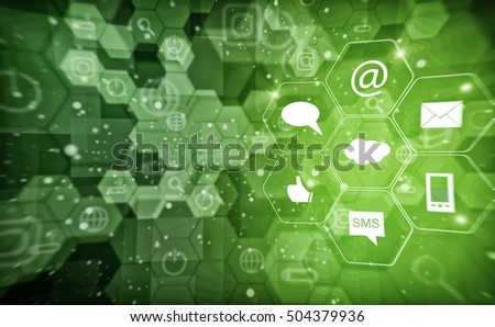 abstract technology background communication connection, 3D illustration