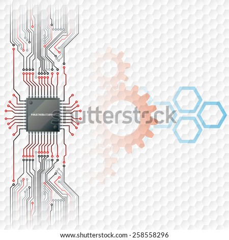 Abstract technology background; Electronic Chip connected at circuits board with cogwheels and hexagons behind; Hexagons pattern in background.  - stock photo