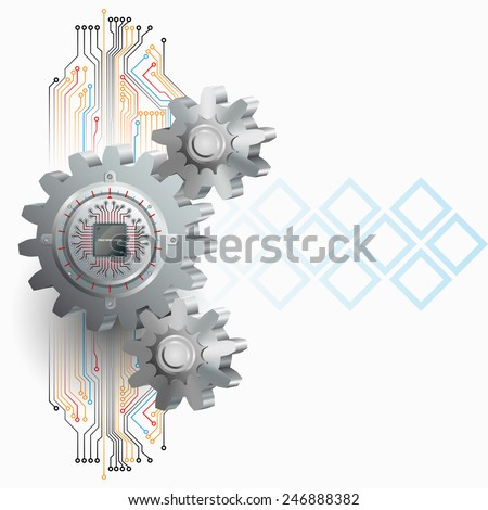 Abstract technology background;Processor Chip attached to circular metallic device with gradations  pinned to cogwheels as symbol of technology.  - stock photo