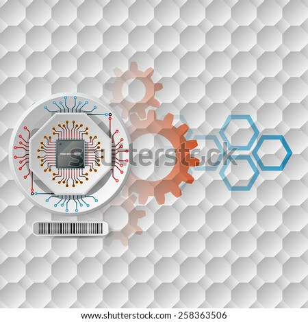 Abstract technology background;Processor Chip attached to white device connected with other circuit ; White three dimension machinery printed with circuits.Complex geometric pattern.  - stock photo