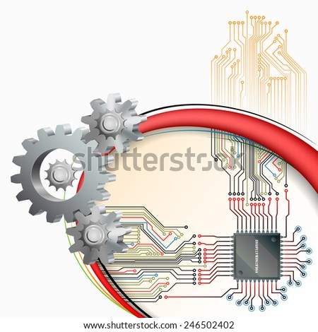 Abstract technology background;Processor Chip connected with electronic circuit  and in front cogwheels as symbol of technology.  - stock photo