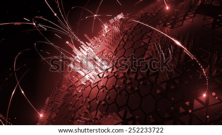 abstract technology background with global communication orbits and high detailed globe - stock photo