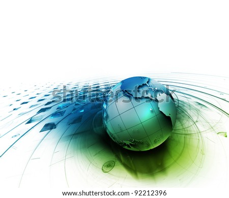 abstract technology background with the planet on a white backdrop - stock photo