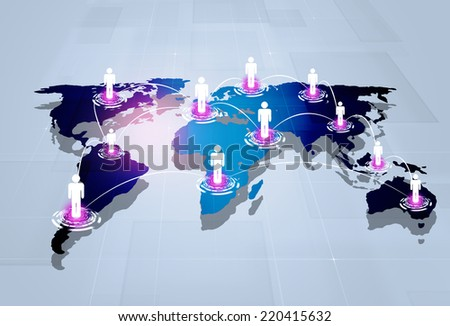 abstract technology business people global web connections  background - stock photo